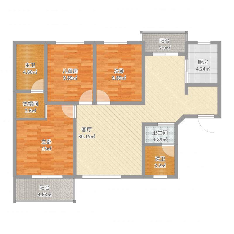 陇东家园118.1平米-副本户型图