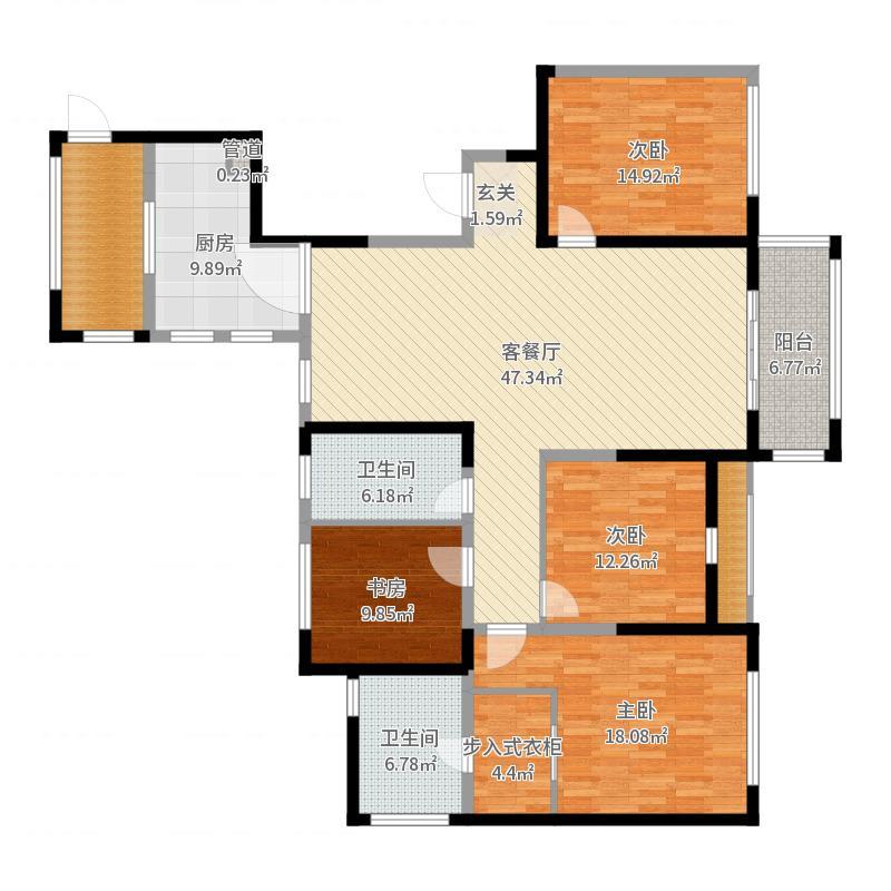 华仑港湾180.00㎡E-1户型4室4厅1卫1厨-副本户型图
