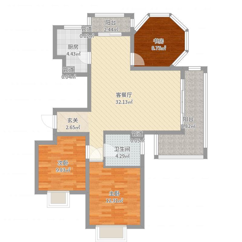 梵顿公馆116.00㎡凡尔赛GG户型3室2厅1卫1厨-副本户型图