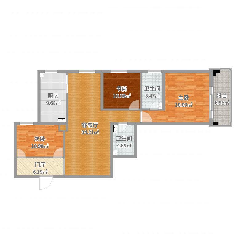 4号楼A2户型-1016-地砖户型图