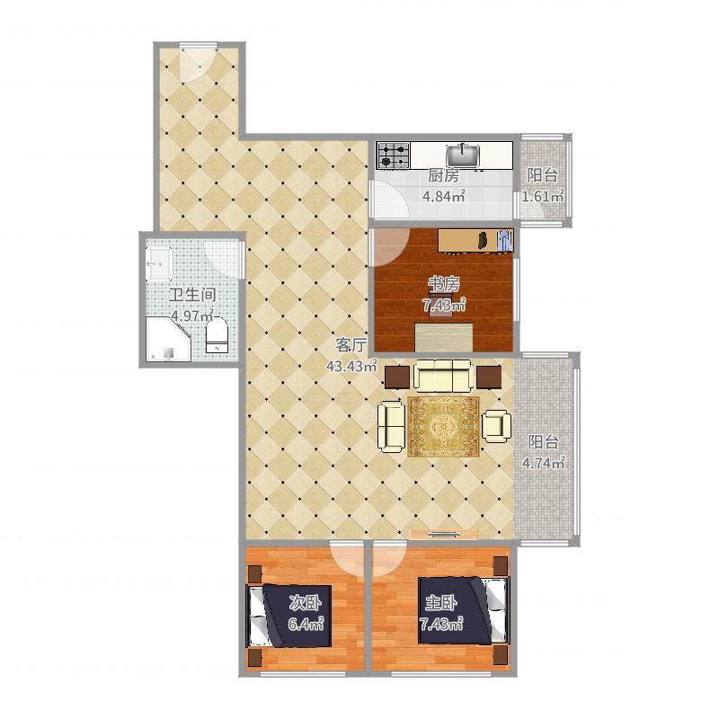 卧龙园C-1-502户型图