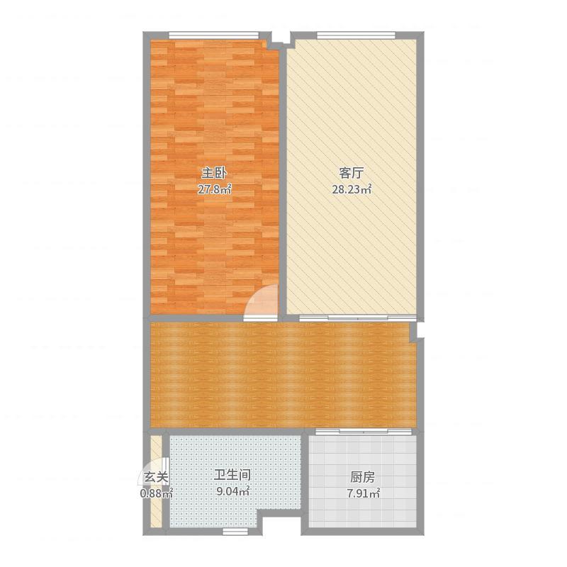 桔子公寓简欧装修设计方案修改1-副本户型图