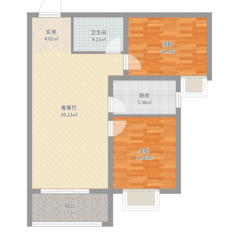 盛紫中央公园85.00㎡二期9号楼标准层F户型2室2厅1卫1厨户型图