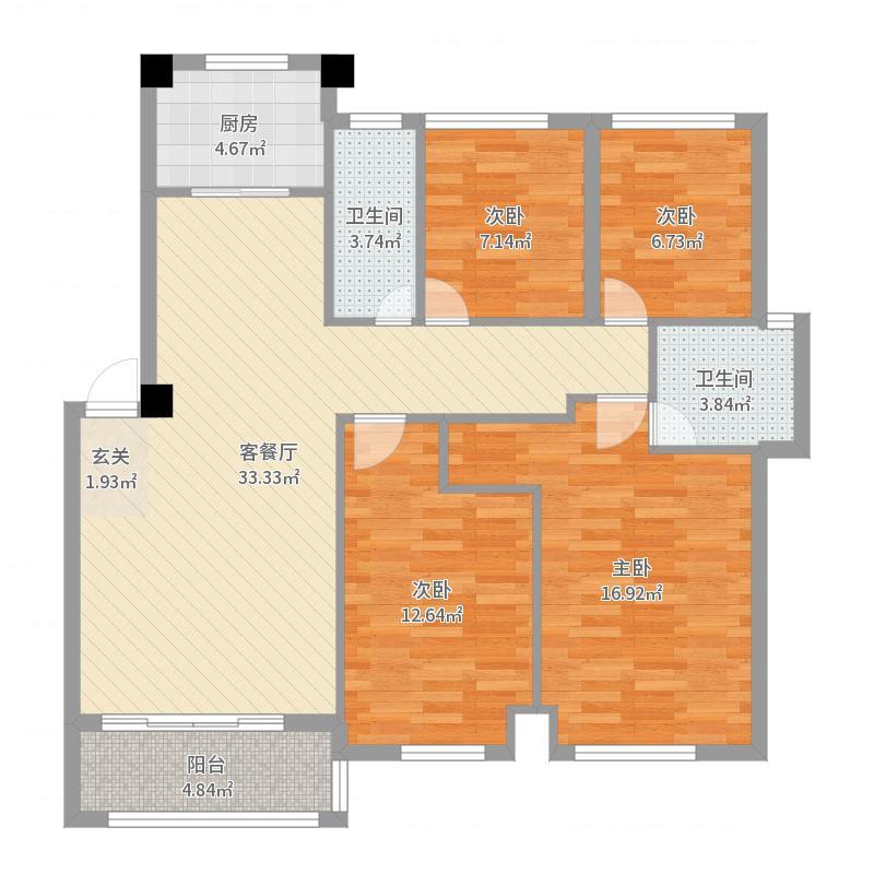 恒达星湖花海118.00㎡洋房D户型4室4厅2卫1厨户型图
