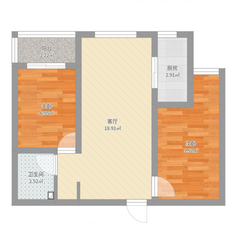 后现代风格2室1厅户型图