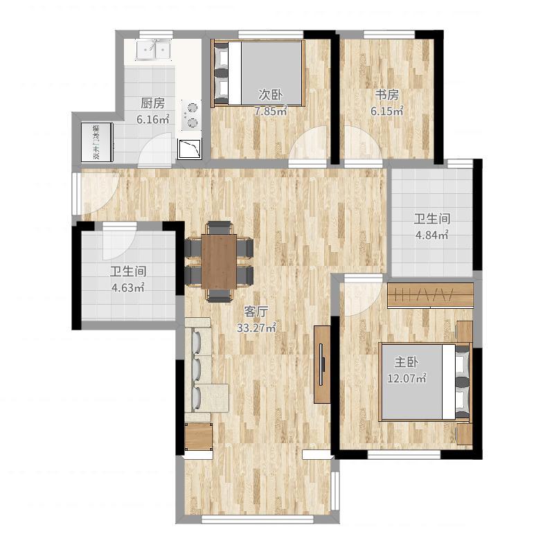 保利・中央公园107.00㎡3#、9#中间户D户型3室3厅2卫1厨-副本户型图