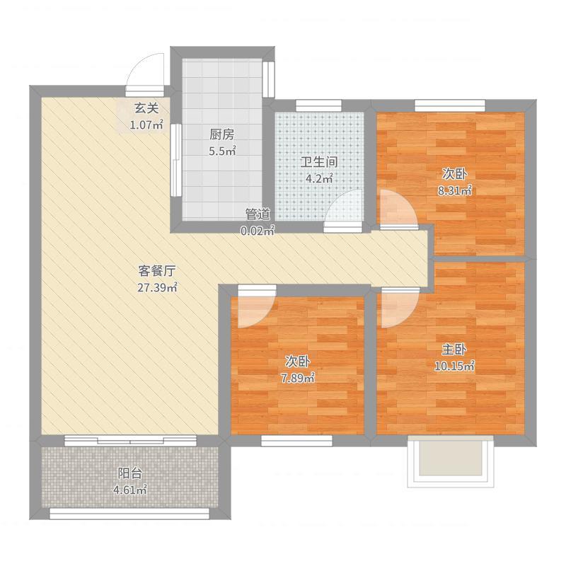中兴绿谷96.80㎡C1户型3室3厅1卫1厨-副本户型图