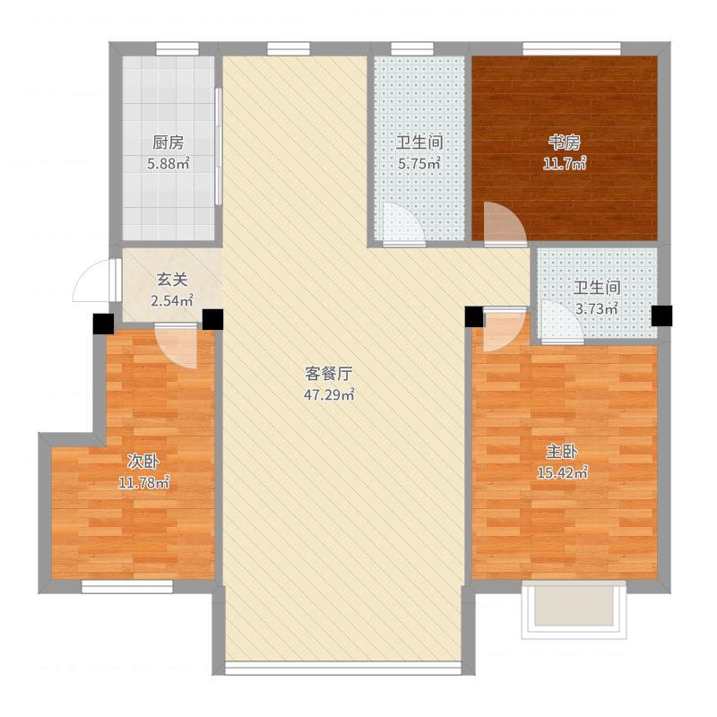 南郡天下131.00㎡5号楼B1户型3室2厅2卫-副本户型图