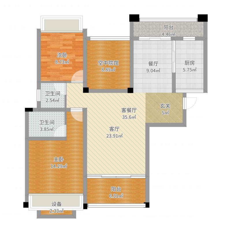 缙颐阳光城户型2室1厅2卫1厨户型图