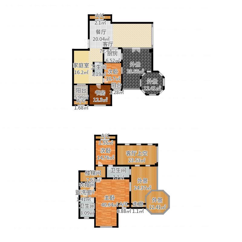 新湖香格里拉255.00㎡高层AY户型4室3厅3卫户型图