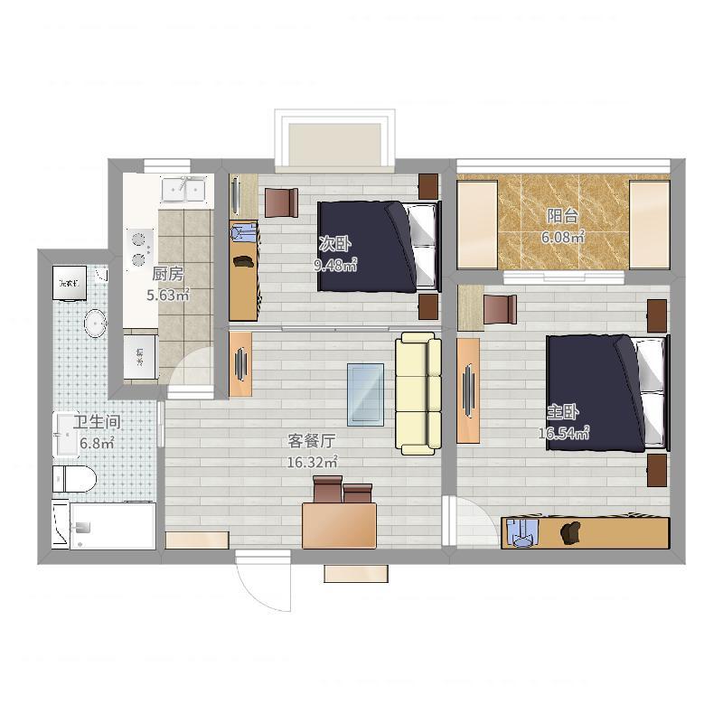 城市名园33号2102室户型图