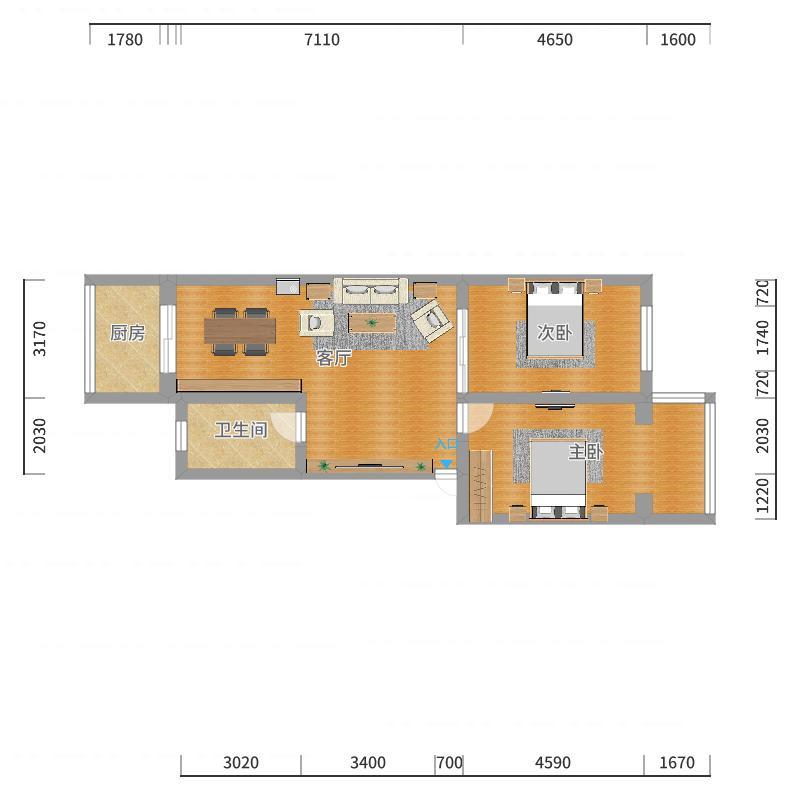尚品乐居6号楼4单元601吕先生家户型图