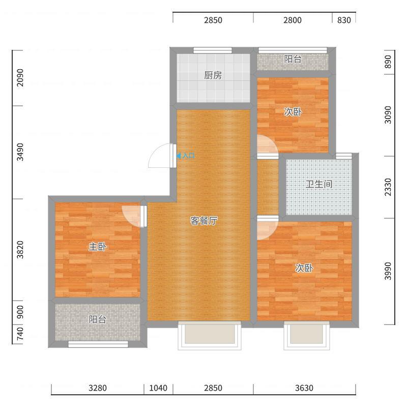 南湖公馆3室108.31户型图