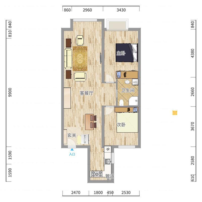 丹东万达广场97.00㎡c1'户型2室2厅1卫1厨户型图