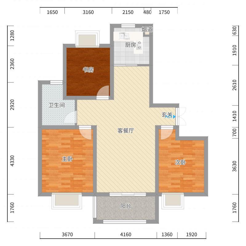 国基逸境104.00㎡C-A户型3室3厅1卫1厨-副本户型图