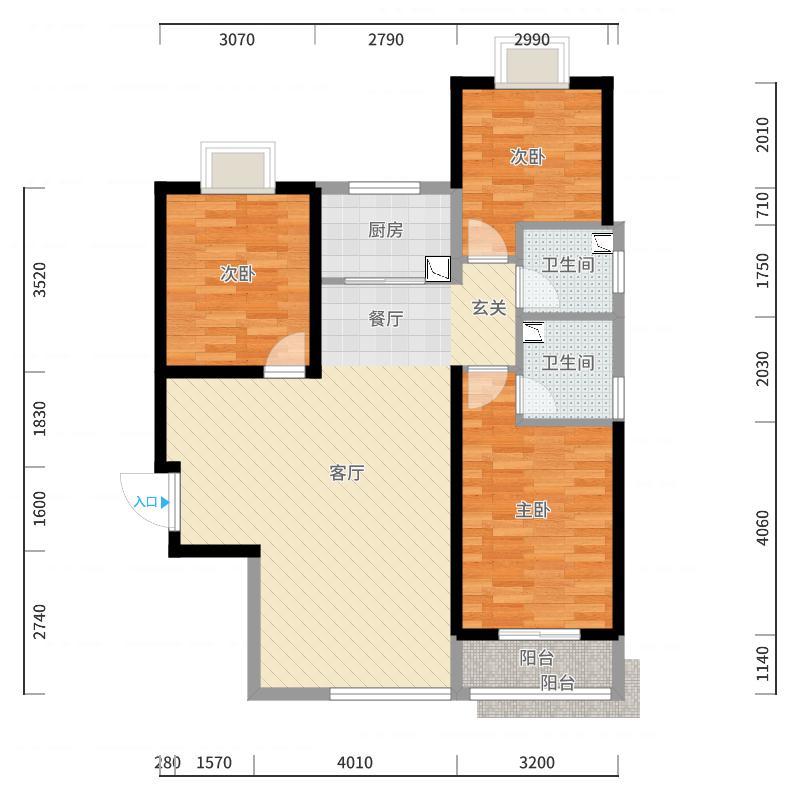 龙溪城117.43㎡E-C户型3室2厅-副本户型图