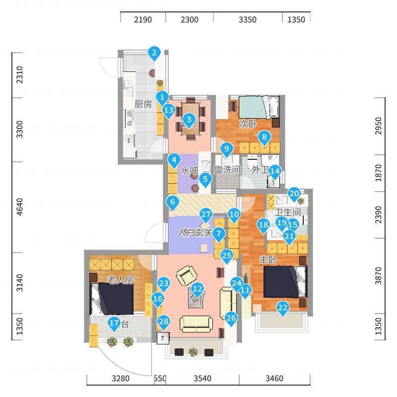 金水名苑-现代三居室户型图