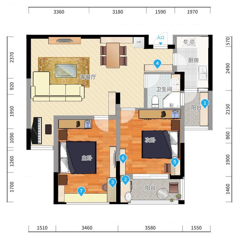 阳光龙庭88.00㎡K户型2室2厅-副本-副本户型图