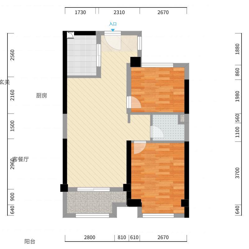东二环泰禾广场・金尊府74.00㎡C户型2室2厅1卫1厨户型图