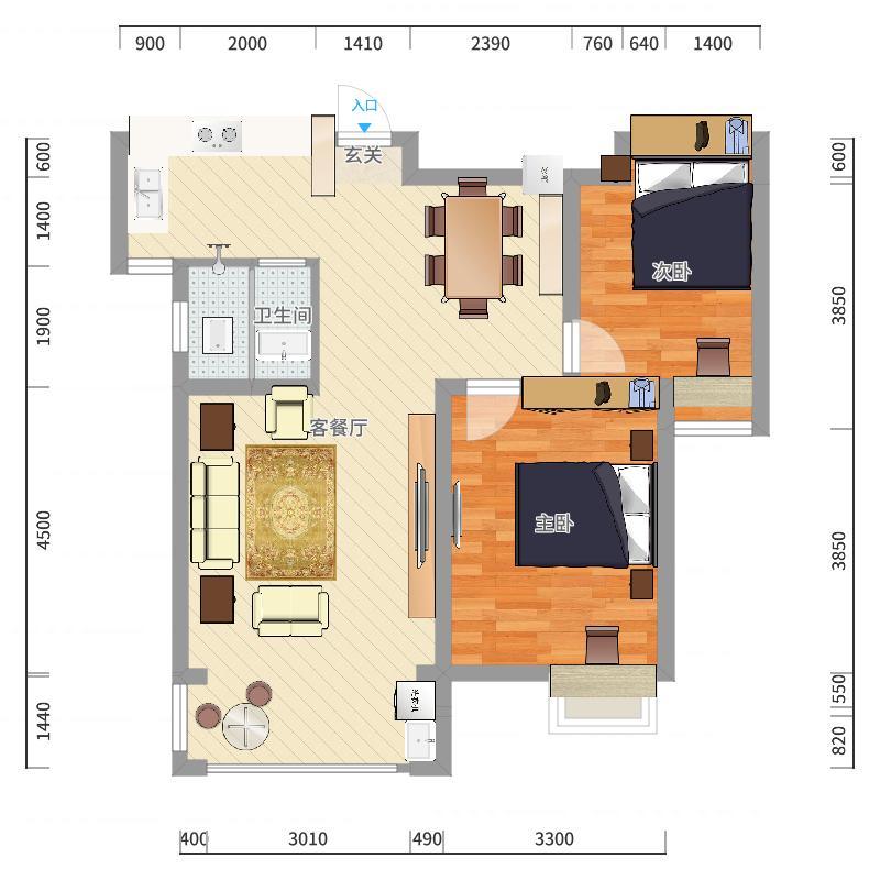西域风情81.47㎡D3E3户型2室2厅1卫1厨户型图