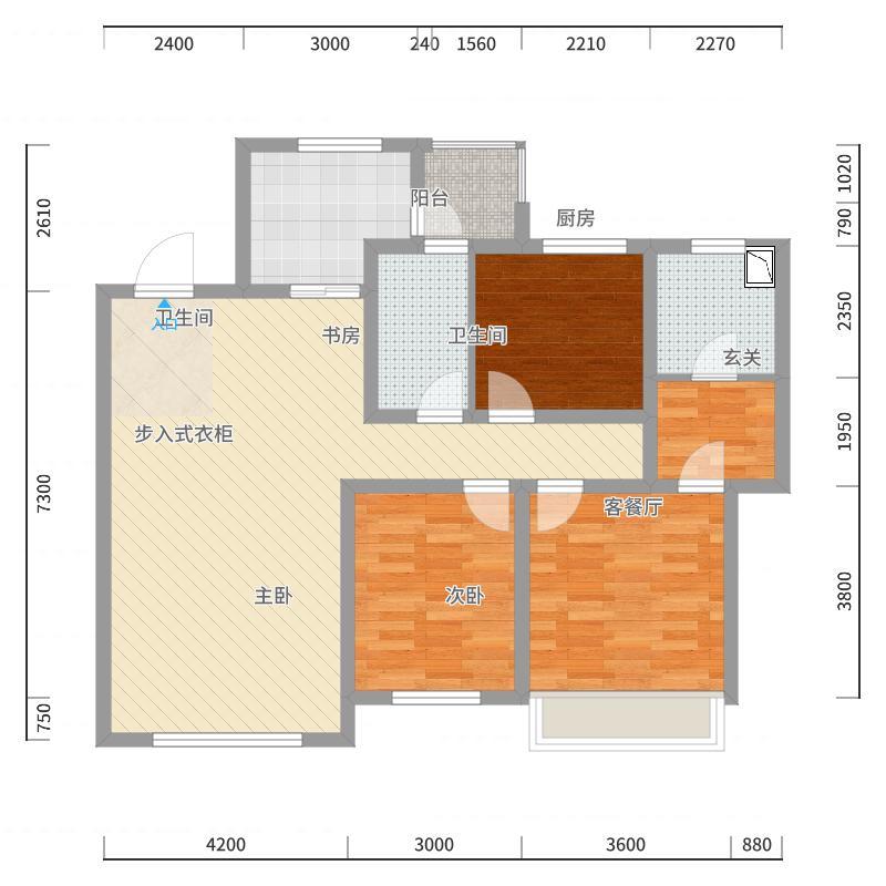 钻石湾133.00㎡D2区4号楼A户型3室3厅2卫1厨-副本户型图