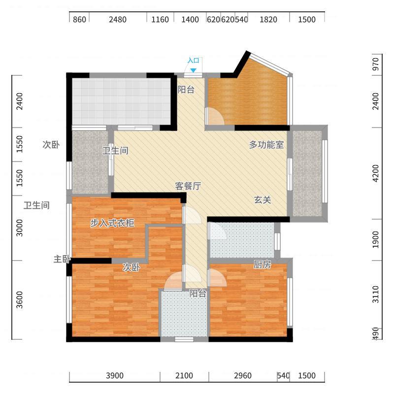 香林郡113.33㎡07户型3室3厅2卫1厨-副本户型图