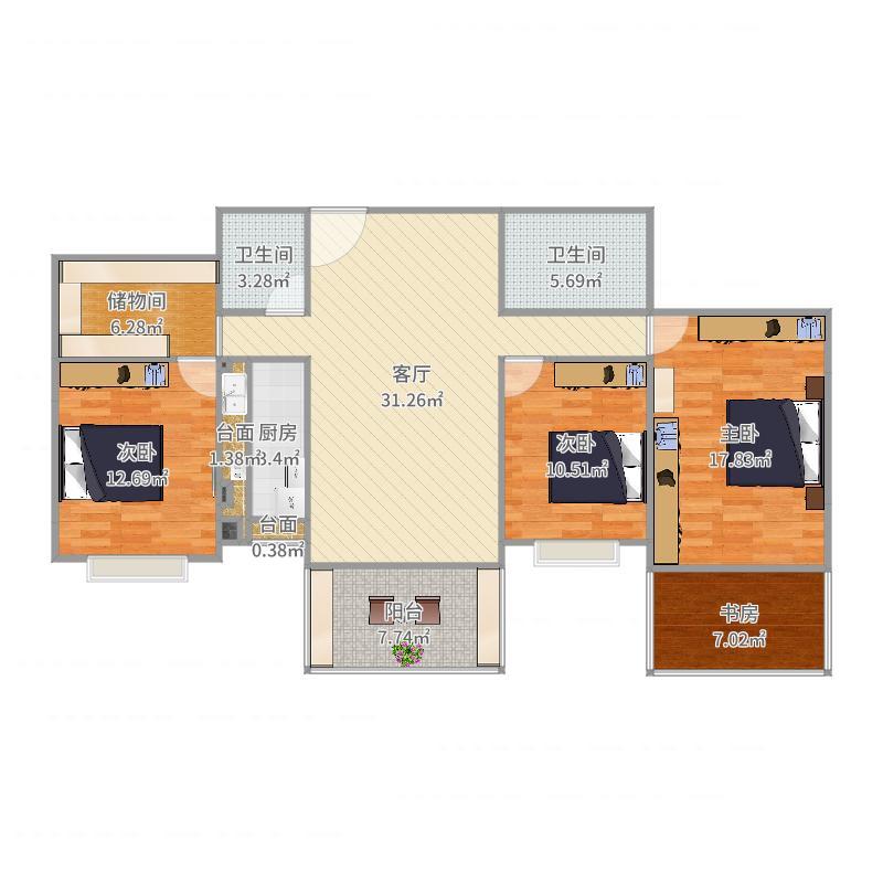 1603-1-成型户型图-实测-带家具户型图