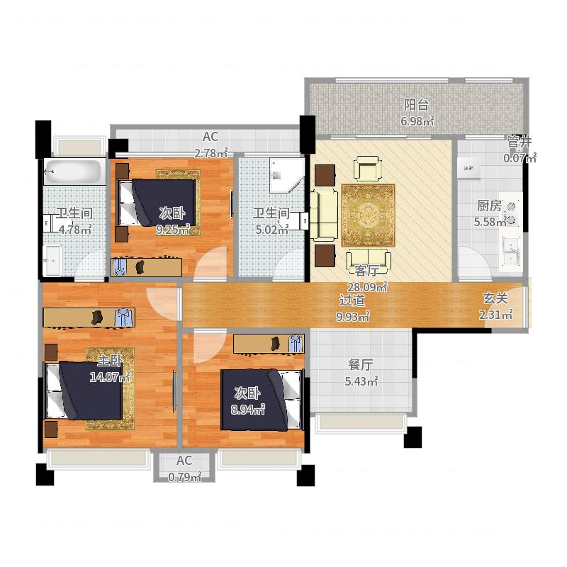 绿地世纪城104.00㎡3期16-19栋标准层D1户型-副本-副本-副本户型图
