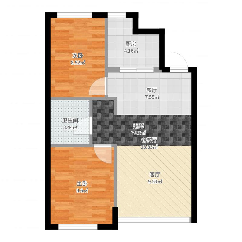 万棵树69.00㎡A户型2室2厅1卫-副本户型图