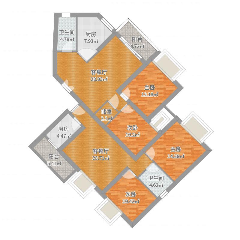 佛山恒大御景湾两室一厅02户型美舍方案户型图