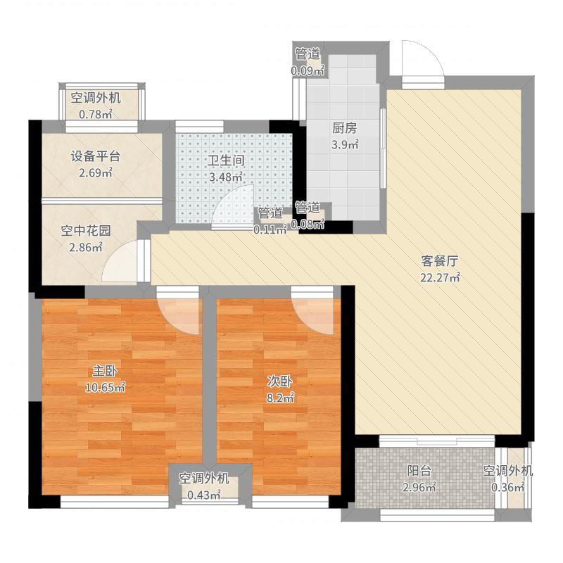 新华御湖上园85.00㎡公寓D户型3室2厅1卫1厨-副本户型图
