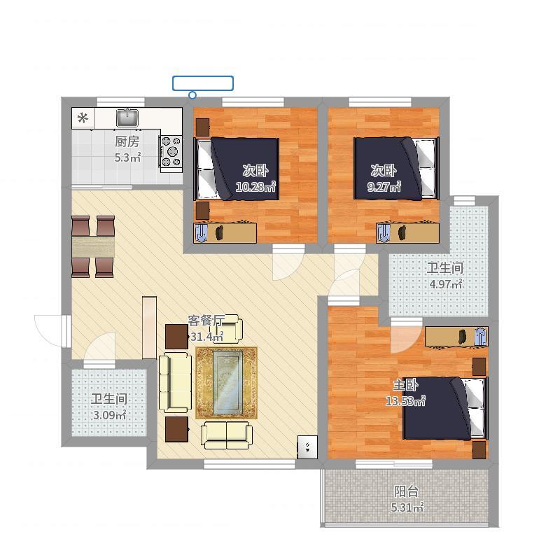 海林御苑二期123.20㎡住宅A户型3室2厅2卫1厨-副本户型图
