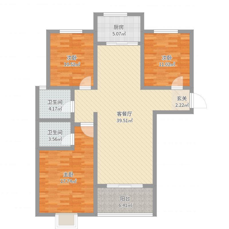 恒弘城123.00㎡C1户型3室3厅2卫1厨户型图