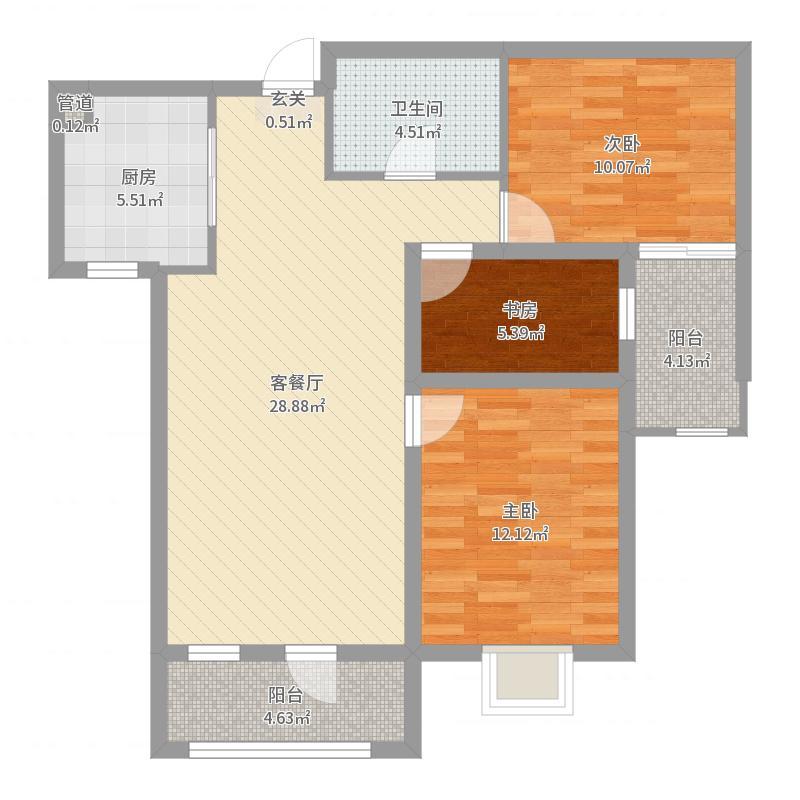 恒昌卢浮公馆98.00㎡B-7户型3室3厅2卫1厨户型图