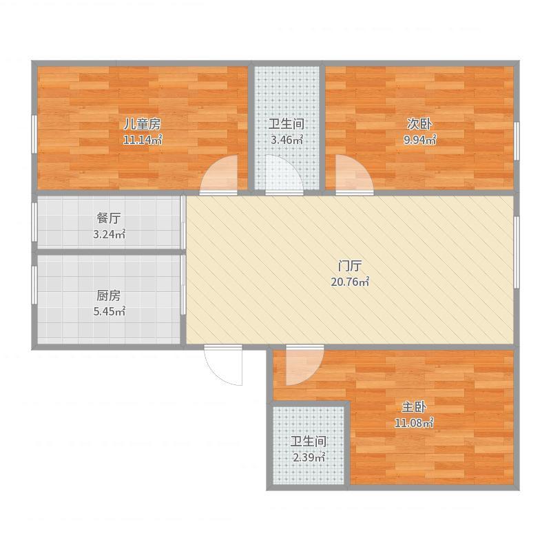 水域荣城3室2厅户型图