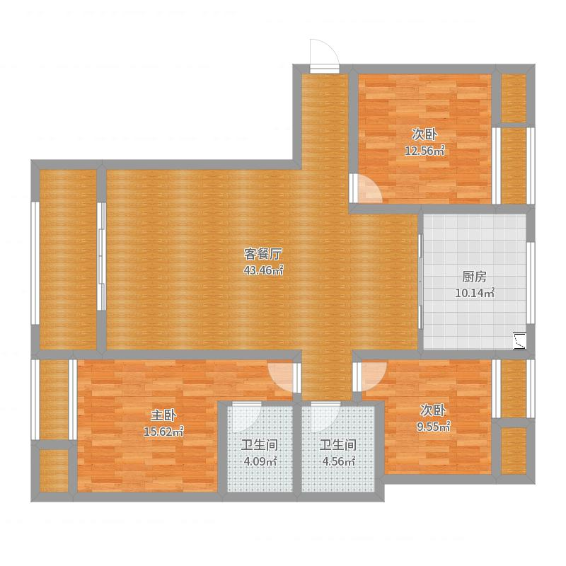 E1三室两厅两卫户型图