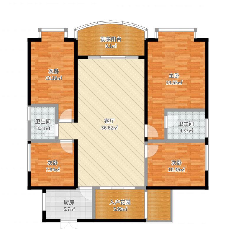 钰龙天下141.00㎡J户型4室2厅2卫-副本户型图