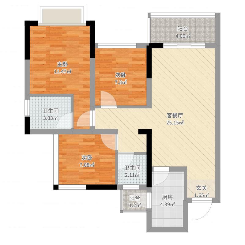 北京城建龙樾熙城83.00㎡1期1栋标准层D1户型3室3厅2卫1厨-副本户型图