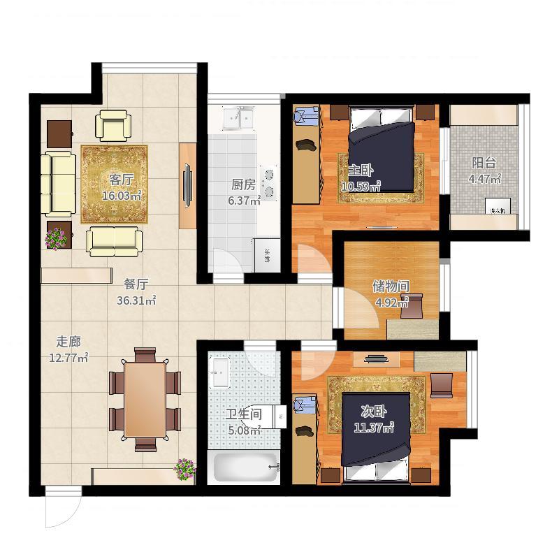 旭景兴园107.56㎡1#楼1单元1号房面积10756m户型户型图