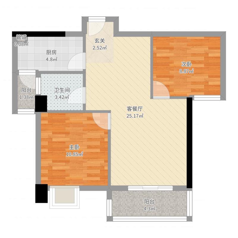 正阳大悦城84.00㎡5、7号楼B户型2室2厅1卫1厨户型图