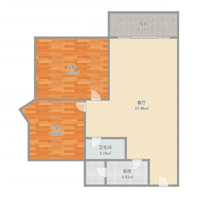 2室1厅1卫83.0平米南户型图