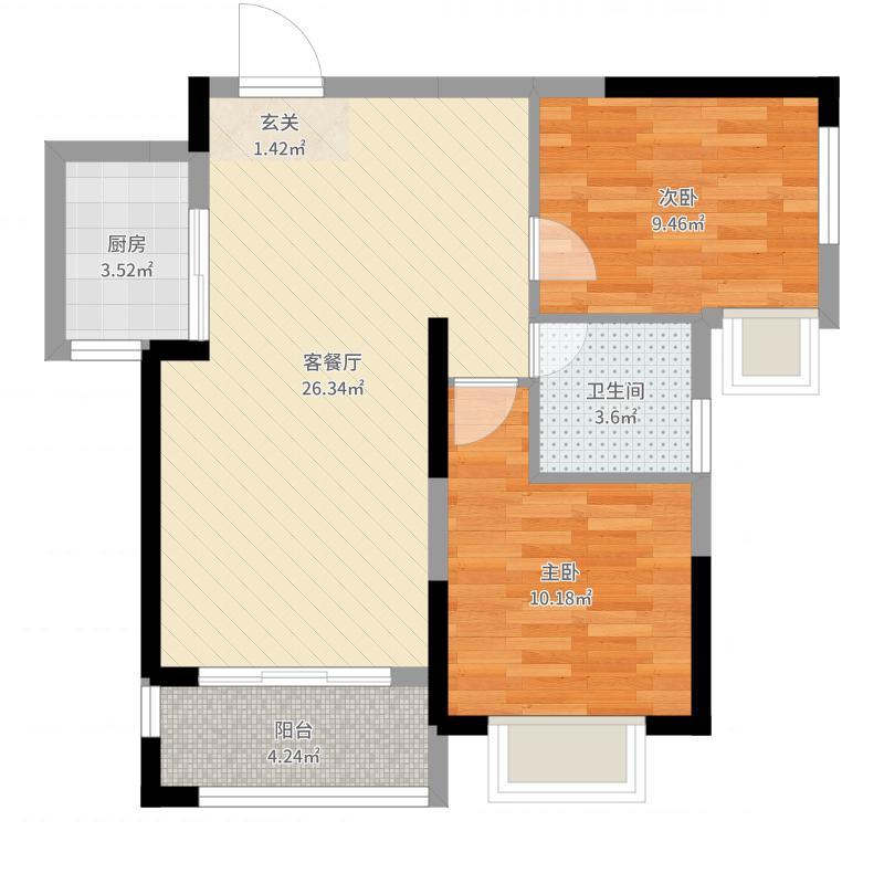 多伦・公园里81.00㎡G-2户型2室2厅1卫1厨-副本户型图