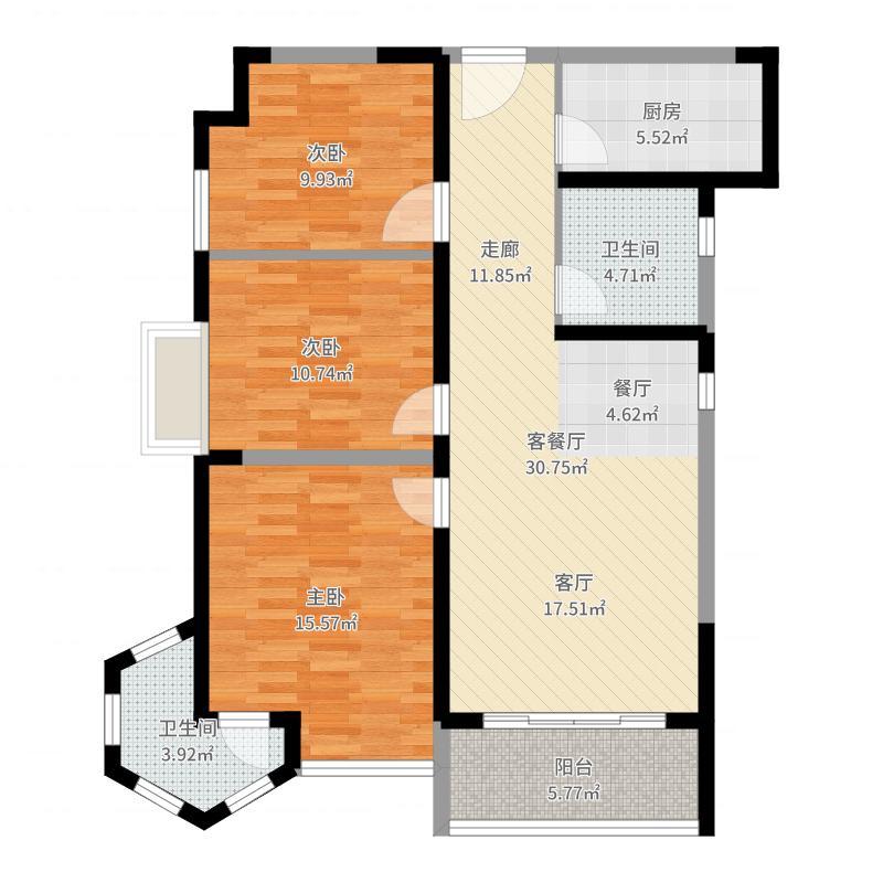 亚星江南小镇104.77㎡C18#楼户型3室2厅2卫户型图