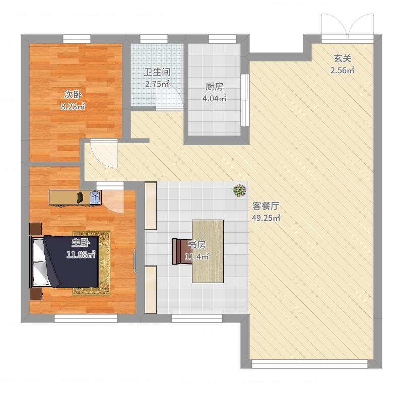 永泰城105.00㎡D户型3室3厅1卫1厨户型图