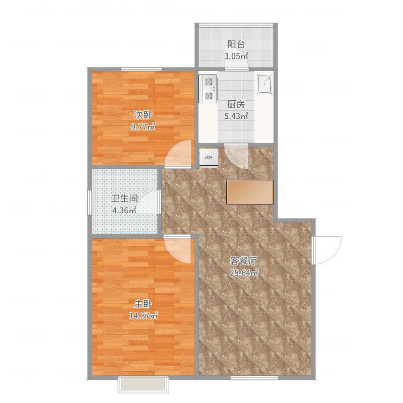 东丽-宝能城两室两厅一厨一卫一阳台-YSK030户型图