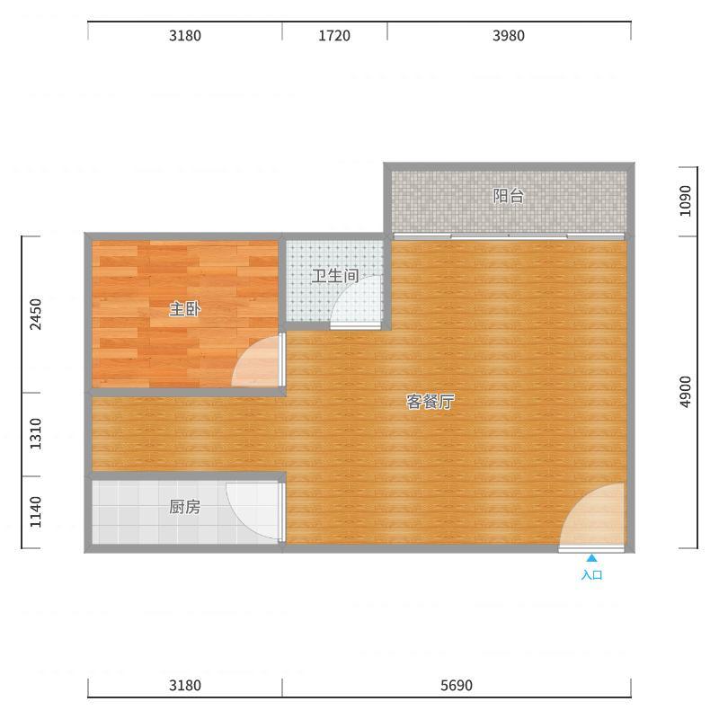 揽月1.5房1厅户型图