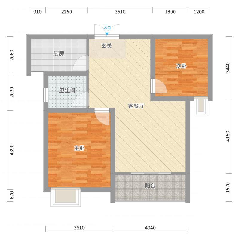 新龙.御景城81.01㎡C3--8101户型2室2厅1卫1厨户型图