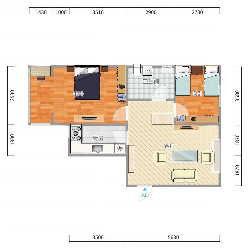 92.6方E户型两室两厅-副本户型图