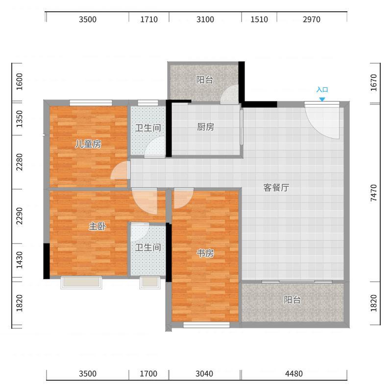 御江帝景118㎡三期期臻品18#19#户型3室2厅-副本户型图