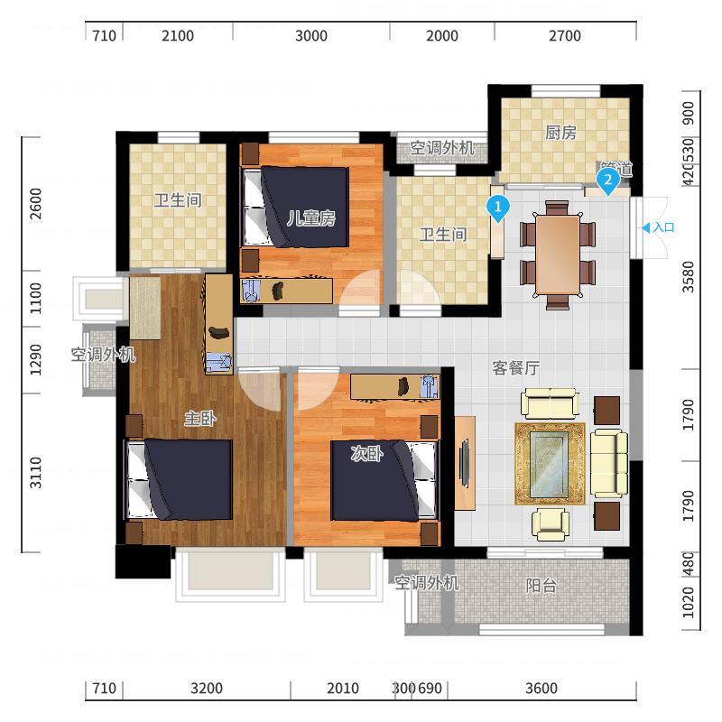 北城世纪城禄徽苑3、7、8、9#29-34层01、04户型户型图